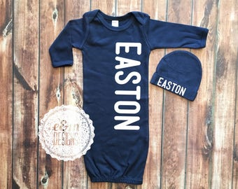 Baby Boy Coming Home Outfit, Newborn Boy, Monogrammed Gown and Hat Set, Monogram Baby Boy, Newborn Boy Outfit, Monogram Navy Gown