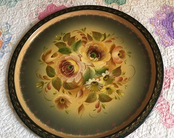 Vintage round tole tray serving home decor gold floral