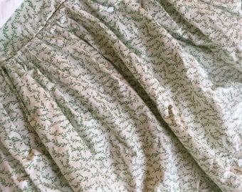Vintage custom made queen size bedskirt in green and white Laura Ashley fabric