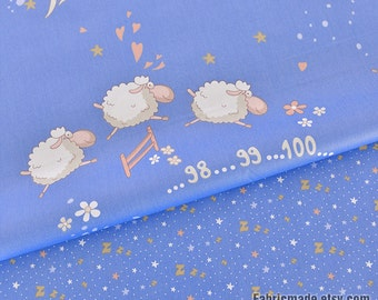 Cartoon Cotton Fabric, Blue Cotton With Stars Counting Sheep, Baby Quilt Clothing Fabric- 1/2 Yard