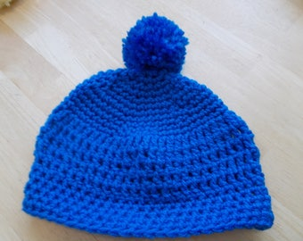 Hand Crochet Blue Infant's Cap/Hat