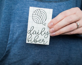 Daily Fiber, Vinyl Decal, Adhesive Sticker, Car Decal, Laptop Decal, Mug Decal, Knitting Decal