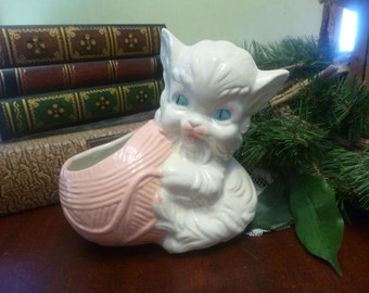 Vintage American Bisque Kitty Cat With Yarn Planter