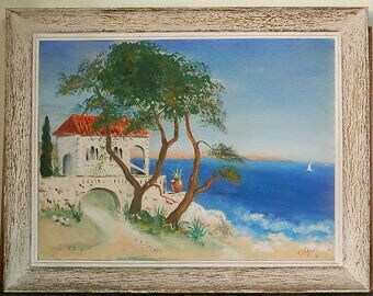 Mediterranean landscape, original painting, acrylic painting