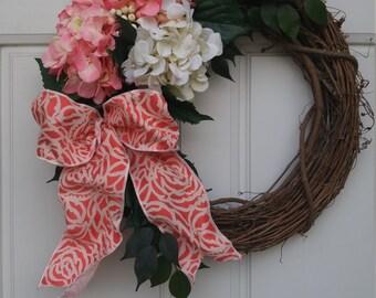 Coral/Pink Cream Hydrangea Spring Wreath, Summer Wreath, Fall Wreath
