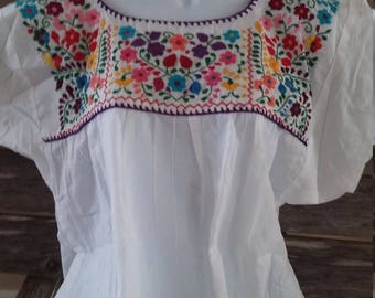 Authentic Traditional Mexican Hand Embroidered Floral Design (M/L)