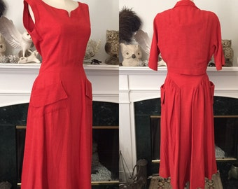 50s 2pc Burnt Red Dress Set