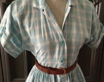50s Blue Cotton Plaid Shirt Waist Day Dress