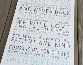 Customized Family Values Statement on Gallery Wrapped Canvas, Create your own family rules wall art