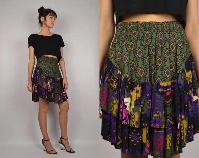 80s Ikat Print Party Skirt