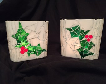 Christmas Holly candle holders