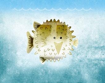 Pufferfish Fish - Aquarium Ocean Sea Beach Underwater  Water - Nemo Dory Wall Art Room Decor Print for Nursery or Big Kid Boy or Girl