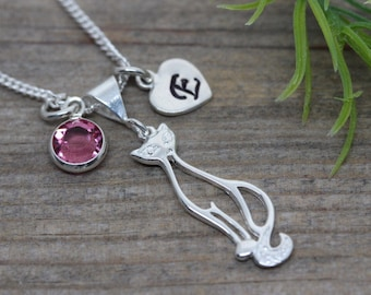 Silver Cat. Cat pendant chain Necklace. two personalized charms Included, Sterling Silver Chain & Cat. Fancy Cat Jewelry