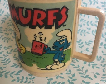 Smurfy vintage 1980 plastic collectable cup