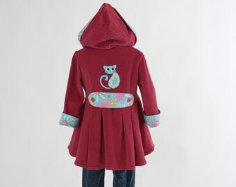 Girls Easter Jacket Peplum Size 4 Embroidered Paisley Kitty Cat Dusty Rose Pink Corduroy Spring Fall Hooded Coat Back To School Ready  Ship