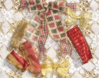 Vintage Ribbon - Fancy Ribbons and Bows, Golds, Reds, and Plaid Ribbons for Wrapping or Decorating