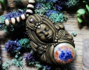 Gemstone Goddess Necklace with Orange and Blue Sodalite.
