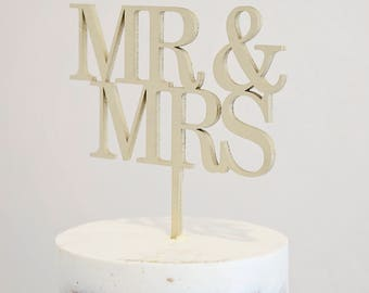 Mr. and Mrs. modern wood laser cut cake topper for wedding, new years, party, birthday, shower - gold or natural wood
