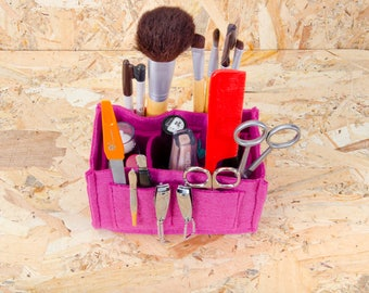 Make up organizer ,Cosmetic brush organizer ,Felt Toiletry Storage,in grey and Fuchsia
