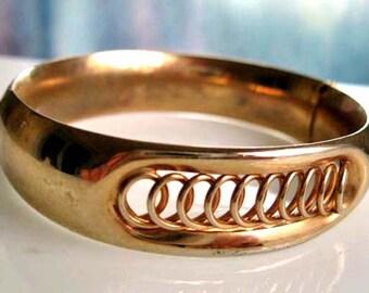 Vintage Goldfilled Bangle Bracelet, c. 1940s, Side-Hinged, Open Loops Curlique Front Design, Interlocking Circles, 31 grams