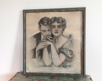 Vintage Framed Hand Drawn Charcoal Portrait of Lovers | Home Decor, Wall Decor