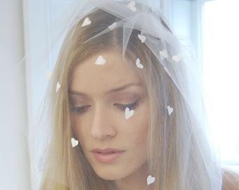 Heart bridal headpiece, heart veil, Wedding veil with hearts, wedding veils headpieces, bridal veil hearts, wedding hair accessories hearts