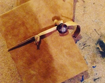 Handmade eco friendly brown leather journal with button closure free domestic shipping