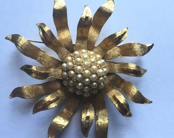 Sunburst brooch, Starburst brooch, marked BSK, Gold and Pearl Brooch
