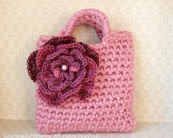 CROCHET PATTERNS for kids - Little girls flower purse bag pattern - Listing77