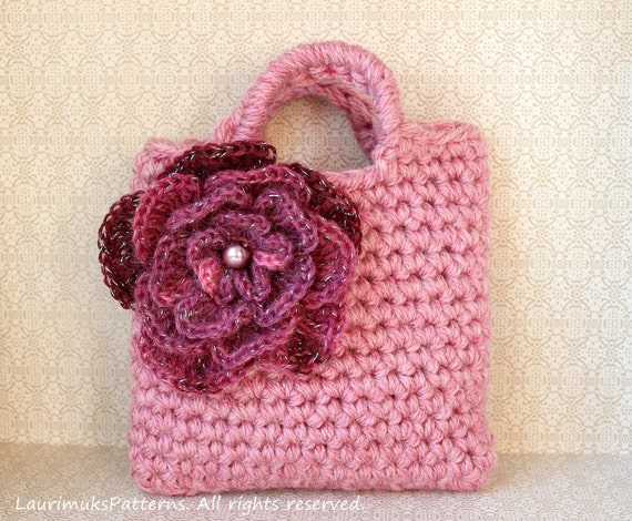 Crochet Bag For Kids : CROCHET PATTERNS for kids - Little girls flower purse bag pattern ...