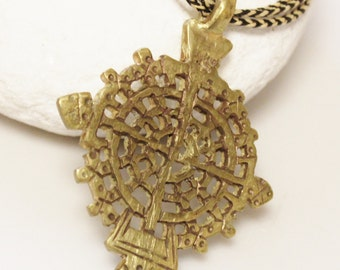 African Brass Cross Necklace, Ethiopian Coptic Cross Jewelry, Ethnic Necklace
