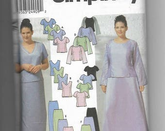 UNCT Sewing Pattern Simplicty 9717 for Women's Evening Tops and Skirts, Size 18W--24W