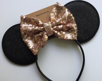 Mommy Minnie Mouse ears with rose gold sequin bow