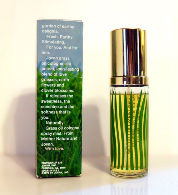 The reverse of my bottle and box of Jovan Grass Oil Cologne Mist for Women