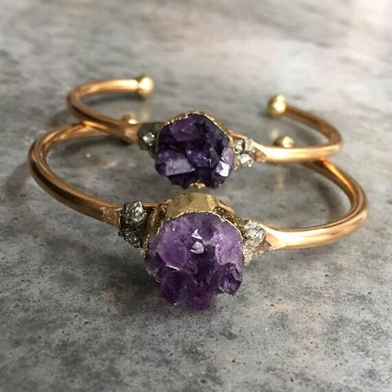 Amethyst Druzy Cuff Bracelet, Boho Jewelry, Raw Crystal Jewelry, February Birthstone, Birthstone jewelry