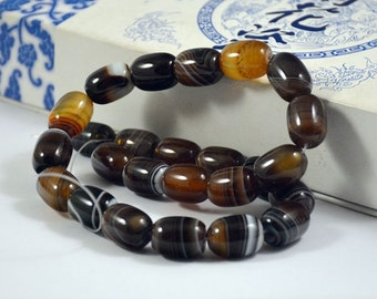 Barrel bead Coffee Color Agate Beads ----- 13mm x18mm ----- 22Beads, Agate beads