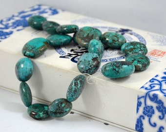 Natural Turquoise Beads Real Turquoise Old Turquoise Beads 18beads Nugget Oval