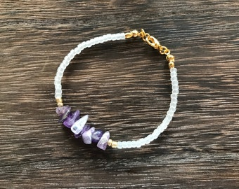 Amethyst and Snow bracelet