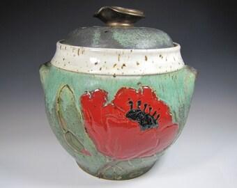 Countertop Compost Bin Recycle Garbage Kitchen Scraps Coffee Grinds - Functional Kitchen Pottery Handmade Gift for Gardener Cook poppy