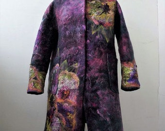 "Nuno Felted coat clothes ""Garden of Eden"""