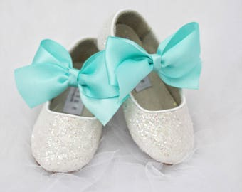 Infant girl shoes, Toddler girl shoes, Kids Girls Shoes - Off White IRIDESCENT rock glitter mary-jane with BLUE satin ribbon bow