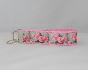 Keychain Wristlet Made With Aqua And Pink Rose Script Ribbon