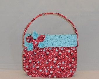 Red And Aqua Floral Fabric Little Girls' Purse With Detachable Fabric Flower Pin