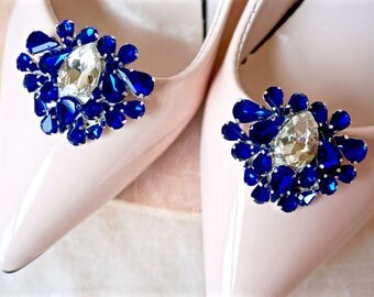 Blue Rhinestone Shoe Clips,Blue Bridal Shoe Clips,Blue Wedding Shoe Clips,Blue Crystal Shoe Clips,Blue Shoe Jewelry,Shoe Accessories