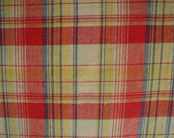 """Vintage Tablecloth, Woven Plaid, Yellow, Red and Blue, Large Size 56 x 94"""""""