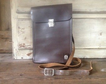 1940s Brown Leather Journal Military Map Document Case Messenger Style
