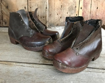 French Wood Leather Clog Boots, Hand Crafted, Hand Nailed, French Farmhouse, 2 Sizes Available