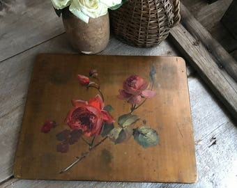 French Floral Roses Oil Painting on Wood Board, ca Early 1900s