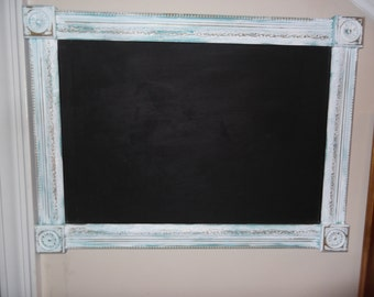 chalk board, shabby white-turquoise distressed cottage vintage frame, solid wood