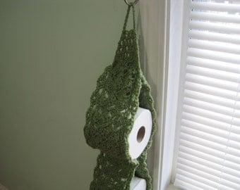 Crochet 2-Roll Toilet Paper Holder - tea leaf (TPH3A)